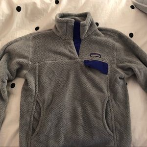 Patagonia Gray Fleece with Purple Detailing Size S